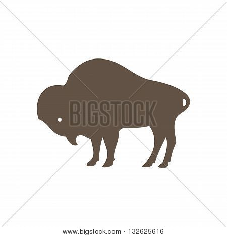 Buffalo silhouette vector illustration isolated on white background.