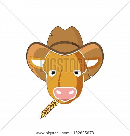 Cartoon style cow head silhouette with hat and wheat vector illustration isolated on white background.