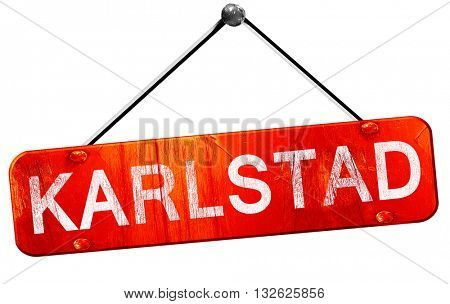 karlstad, 3D rendering, a red hanging sign