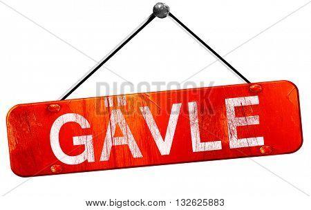 Gavle, 3D rendering, a red hanging sign
