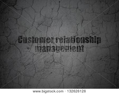 Marketing concept: Black Customer Relationship Management on grunge textured concrete wall background