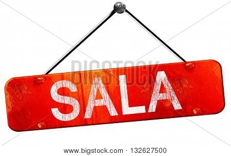 Sala, 3D rendering, a red hanging sign