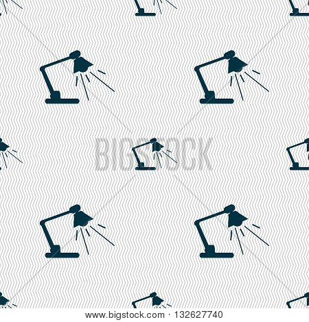 Reading-lamp Icon Sign. Seamless Pattern With Geometric Texture. Vector
