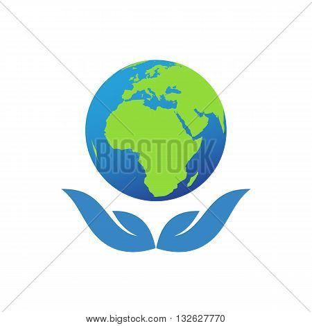 Abstract ecology globe vector illustration isolated on white background.