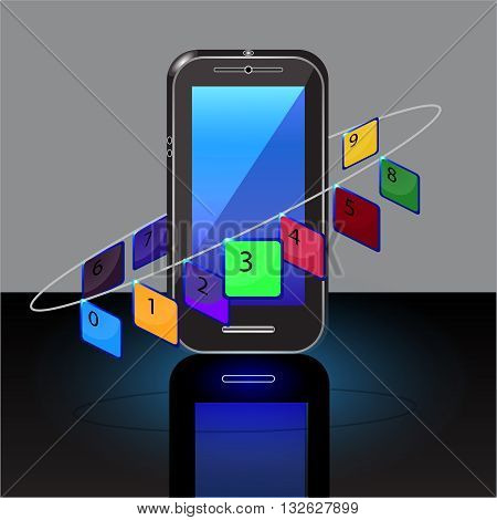 Cell phone numbers on a gray background,object, phone, portable, realistic, screen, smart,