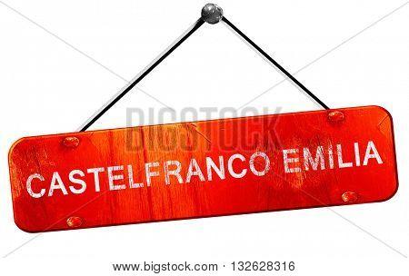 Castelfranco emilia, 3D rendering, a red hanging sign