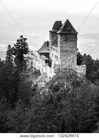 Kasperk castle in Southern Bohemia, Czech Republic . Black and white image.