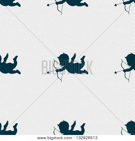 Cupid Icon Sign. Seamless Pattern With Geometric Texture. Vector