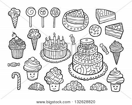 Set of cute monochrome sweets isolated on white background. Vector illustration.
