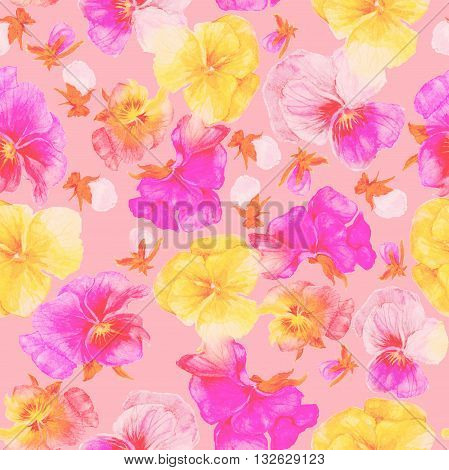 Pink-yellow flowers pattern and print, watercolor painting on pink background