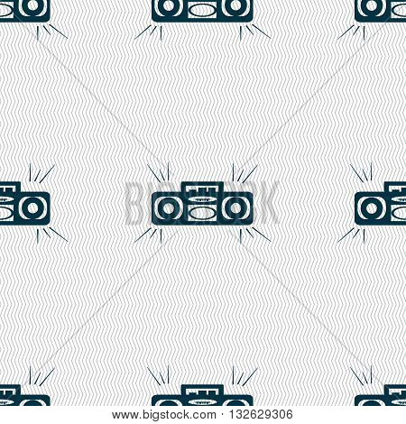 Radio Cassette Player Icon Sign. Seamless Pattern With Geometric Texture. Vector