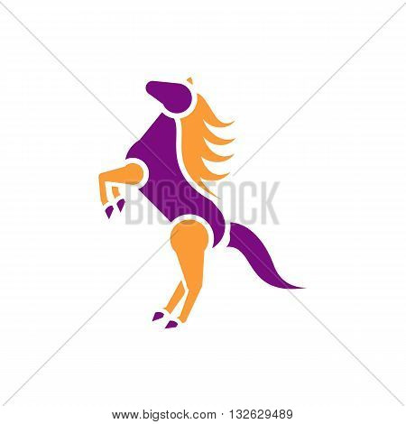 Beautiful purple and orange horse on two legs silhouette vector illustration isolated on white background.