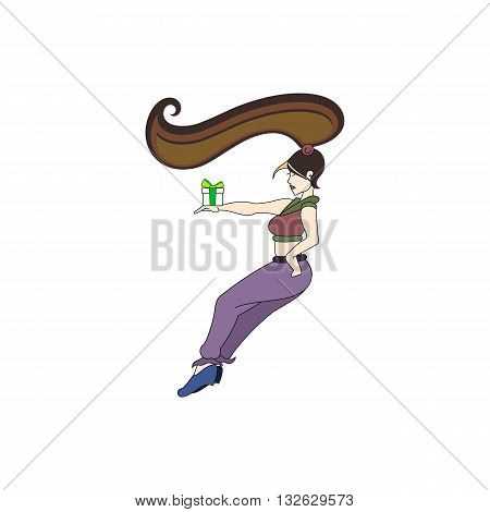 Beautiful lady with lon hair and gift in her hand vector illustration isolated on white background.