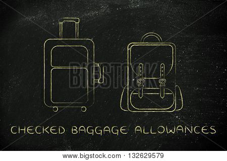 Travel Bag And Backpack, Caption Checked Baggage Allowances