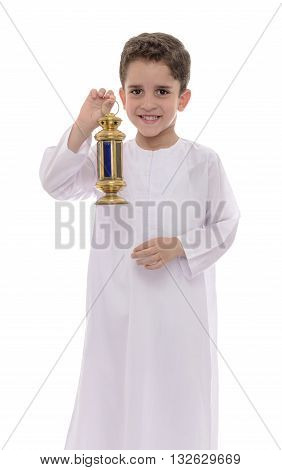 Happy Muslim Boy In White Djellaba Celebrating Ramadan