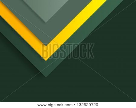 Stock Photo: Modern material design template. Material design trendy background. Geometric shapes and natural colors balance. Realistic abstract technology. Dark green color orange scheme