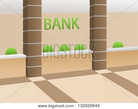 Interior bank room beige reception green chair illustration vector
