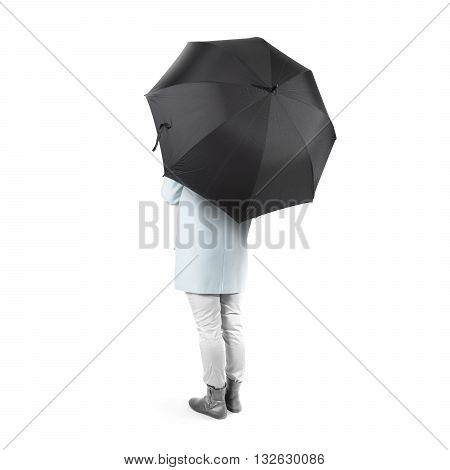 Women stand backwards with black blank umbrella opened mock up isolated. Female person hold grey clear umbel overhead. Plain surface gamp mockup. Man holding protective accesory gingham cover handle.