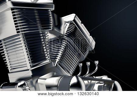 3D Shiny Motorcycle engine close-up on black background