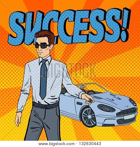 Successful Businessman with Car Key. Pop Art. Vector illustration