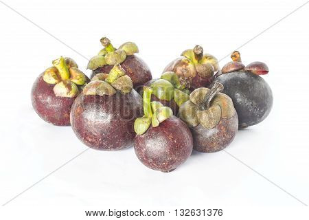 the queen mangosteen placed With white background