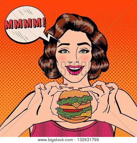 Young Woman Eating Hamburger. Pop Art. Vector illustration