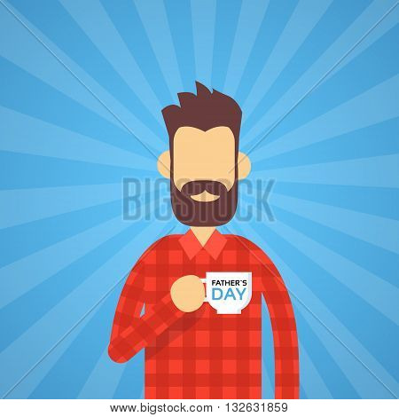 Man Hold Cup Happy Father Day Present Holiday Flat Vector Illustration