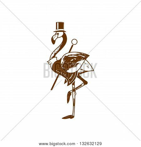 Cartoon style mister flamingo with hat and stick vector illustration isolated on white background.