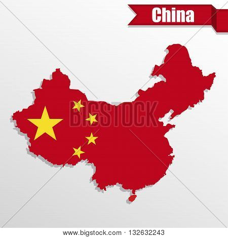 China map with flag inside and ribbon