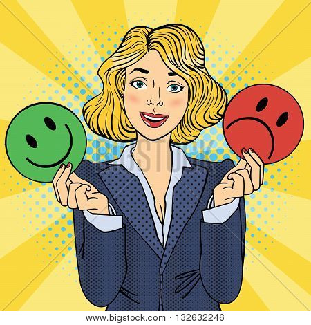 Woman Holdings Emoticons in her Hands. Pop Art Vector illustration