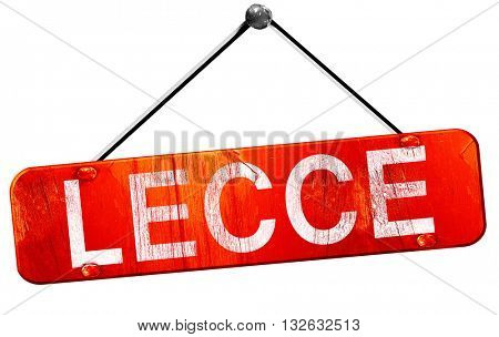 Lecce, 3D rendering, a red hanging sign