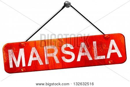 Marsala, 3D rendering, a red hanging sign