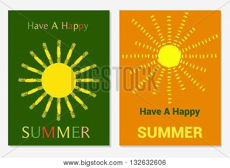 Vector set of design templates with sun in grungy style varicolored leaflets and frames collection of colorful pages for gift card cover book printing.Have A Happy Summer Illustration.