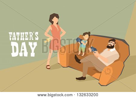 Man And Son Sit On Sofa Play Video Games Father Day Holiday Vector Illustration