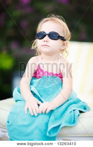 Little Girl In Swimming Glasses