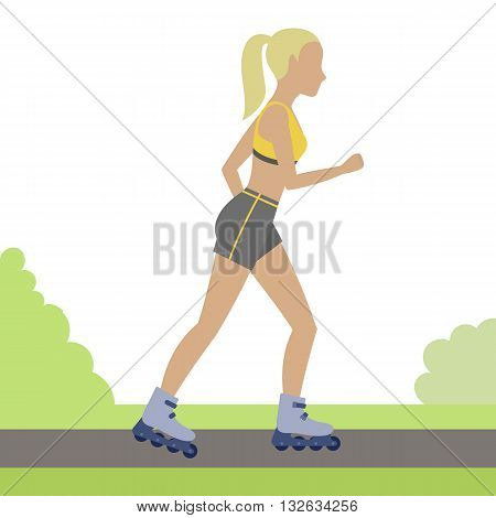 Woman rollerblading outdoor. Girl on roller skates in the city park. Vector.