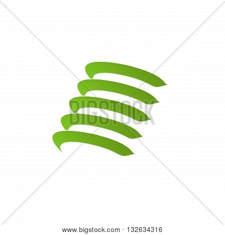 Green stylized shock absorber vector illustration isolated on white background.