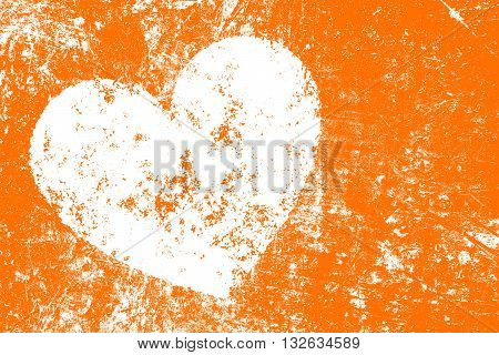 Grunge white heart over orange color noisy abstract romantic background