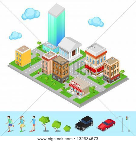 Isometric City. Modern City District. Vector illustration