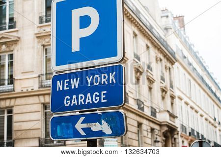 New York Garage parking area in the heart of the city with beautiful luxury buildings in the background