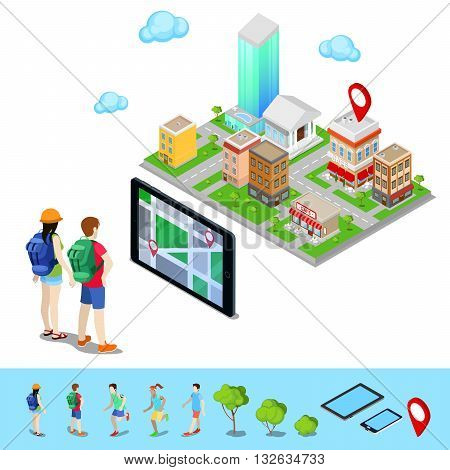 Isometric Mobile Navigation. Tourists Searching Route in the City. Vector illustration