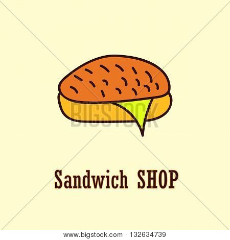 Sandwich logo template. Vector illustration with bread and cheese. For bistro shop bar fastfood eatery lunchroom etc.