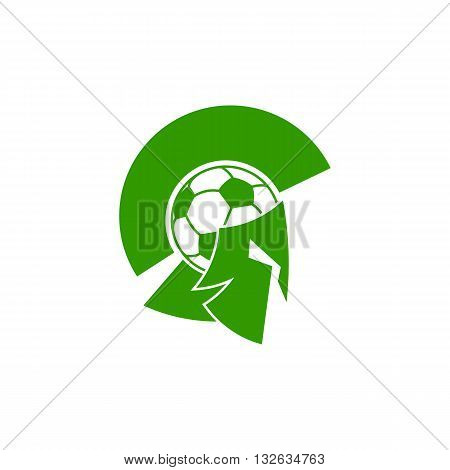 Green soccer knight with ball like head and mask vector illustration isolated on white background.
