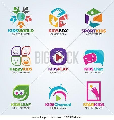 Kids logo for business vector art set design