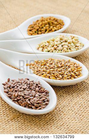 fenugreek seeds bukwheat seeds gold linseeds and brown linseeds.