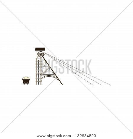 Line drawing surface mine vector illustration isolated on white background.