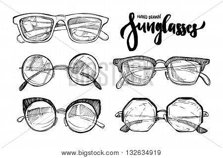 Hand drawn vector illustration - sunglasses. Fashion sunglasses. Vintage decorative design elements.