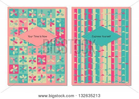 Vector set of design templates varicolored leaflets and frames A4 size layout collection of geometric colorful pages for gift card cover book printing fashion presentation. green and pink colors