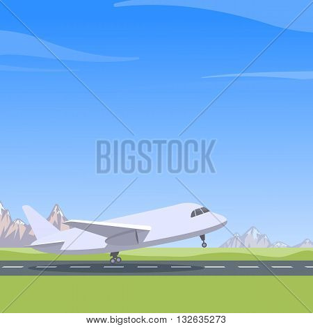 Plane takes off mountain landscape blue sky. Aircraft preparing for take-off