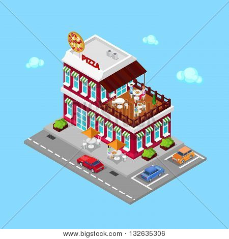 Isometric Pizzeria Restaurant with Parking Zone. Vector illustration